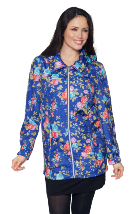 Womens Lightweight Hooded Blue Flower Print Jacket db835